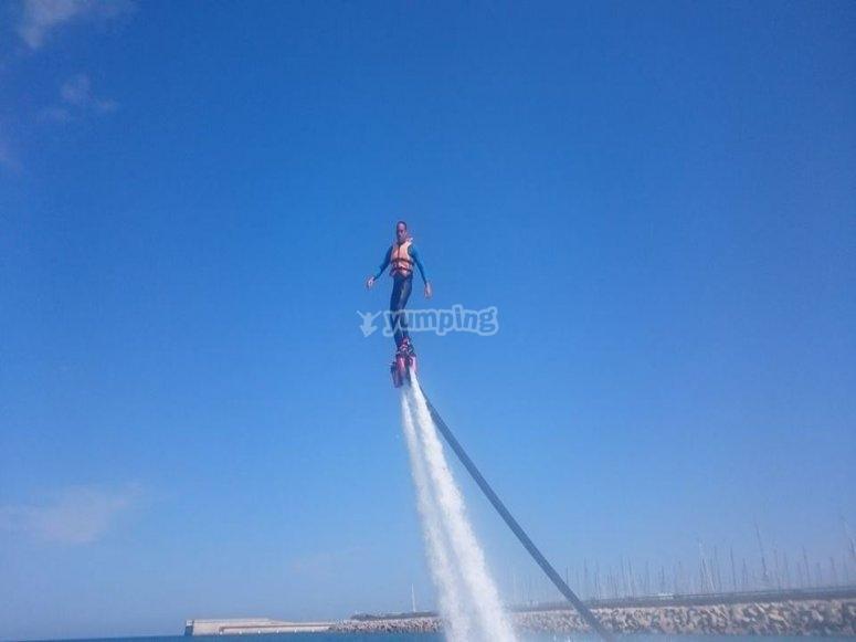 flyboard nel porto di Valencia