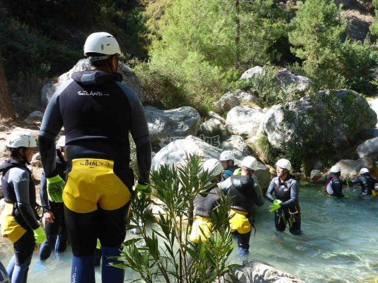 Arrange a group and practice canyoning