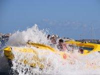 Fast boat splashing