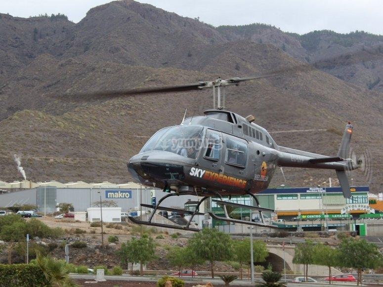 Iniciando el vuelo en helicoptero