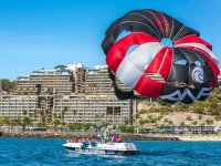 Black and red parasail wing