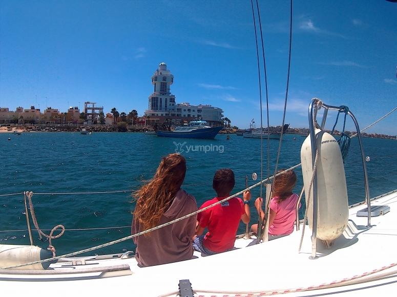 观看Huelva海岸的家庭