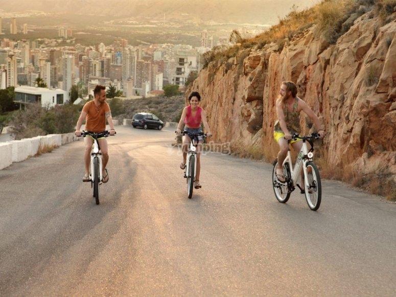 Ascending a hill by a bike