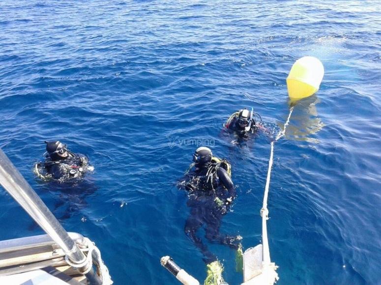 潜水员夜潜水员潜水员在水中海上潜水