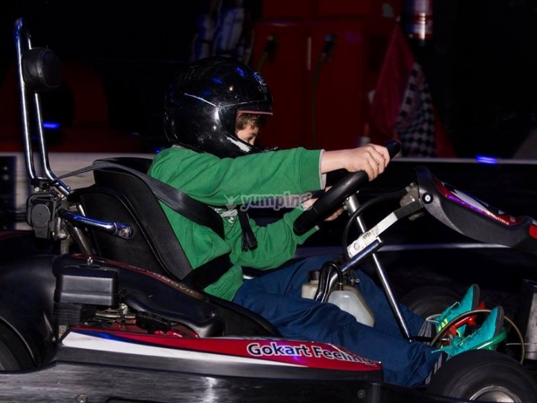 Little one driving the kart