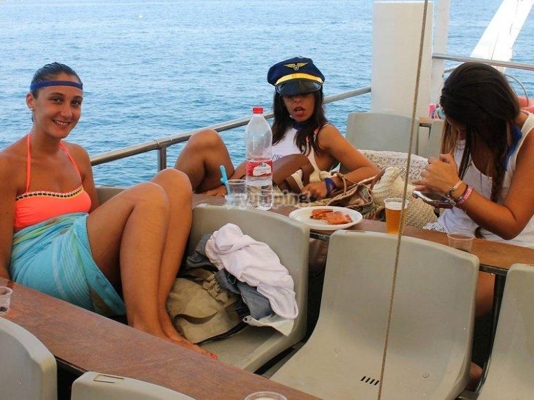 Disfrutando a bordo