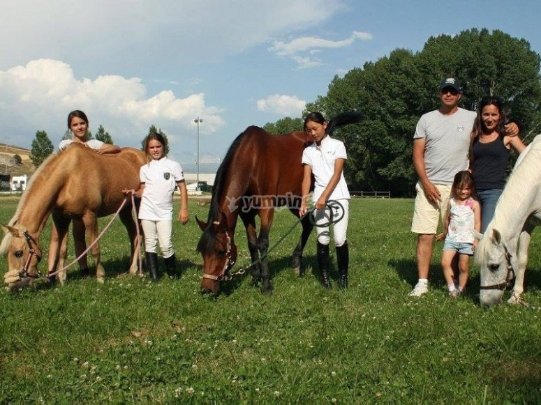 Con los caballos en el prado