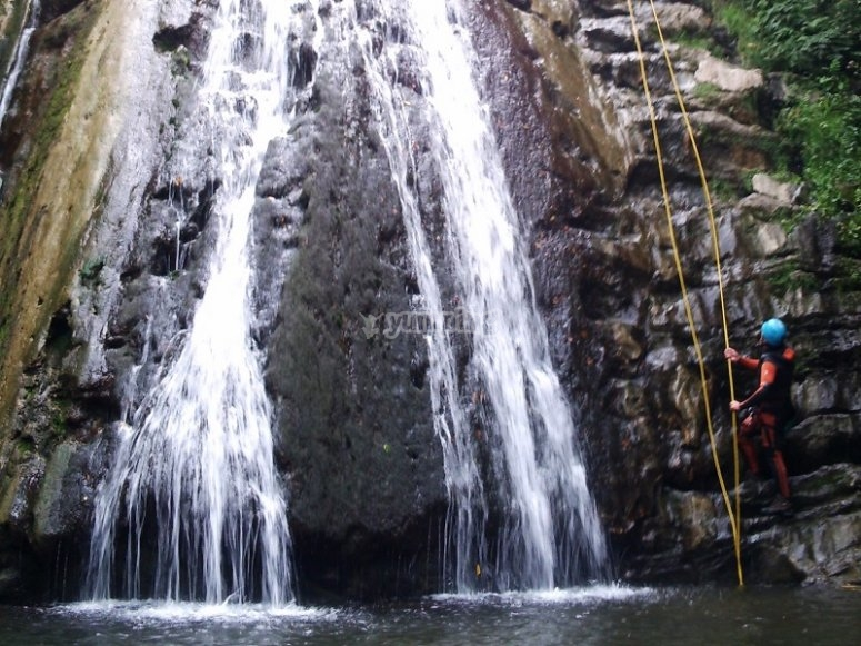 Rope next to the waterfall