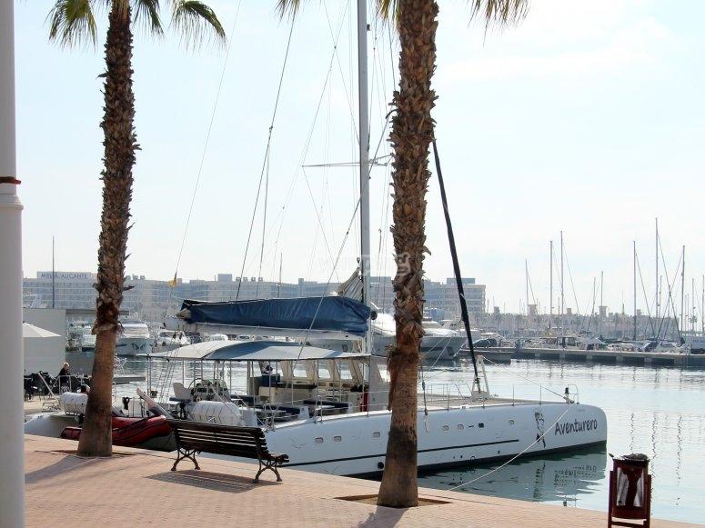 Catamaran at the docks