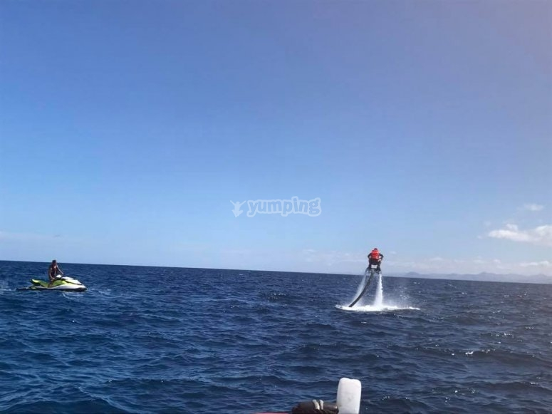 Flyboarding a Lanzarote