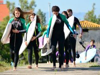 Leaving school with surf equipment