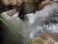 En la poza del barranco tras el salto
