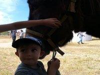 Niño y burro fraguando una amistad