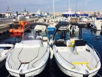 Los dos barcos Flyer en el puerto l Ametlla de Mar