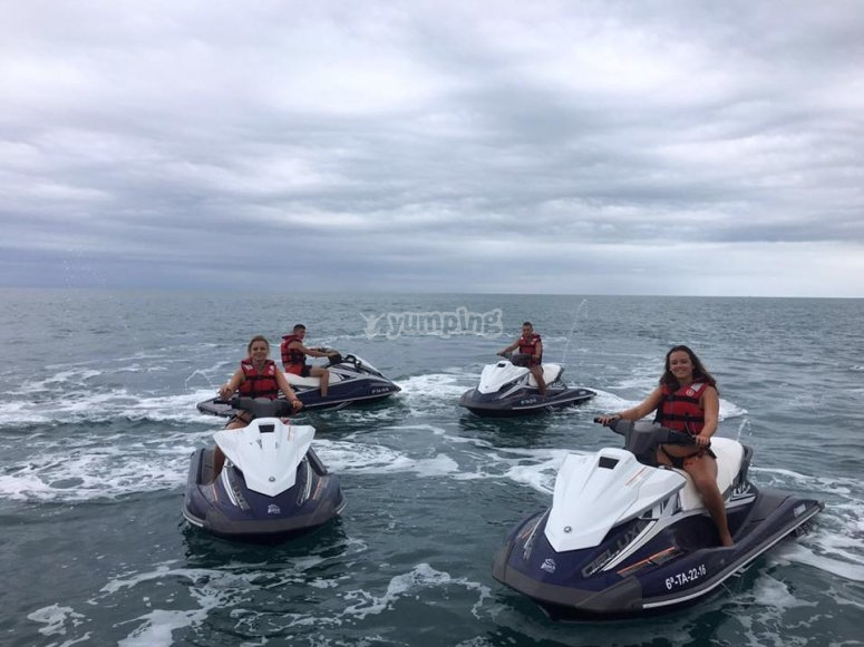Group of jet skis