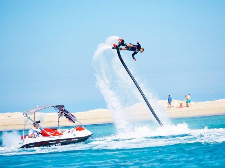 Flyboard with boat in Balearic Islands