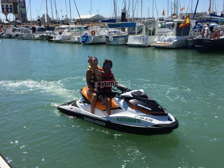 On the two-seater jet ski