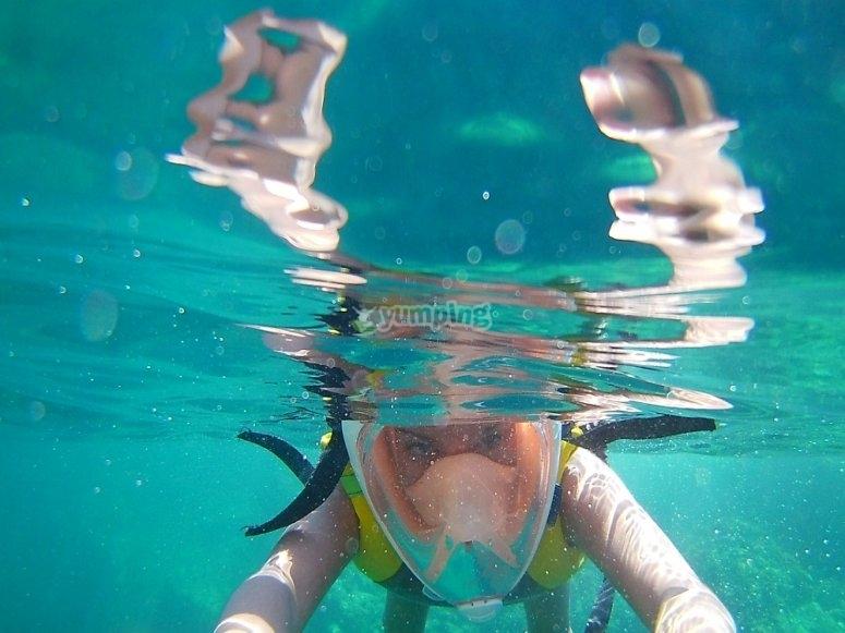 Haciendo Snorkel en Girona