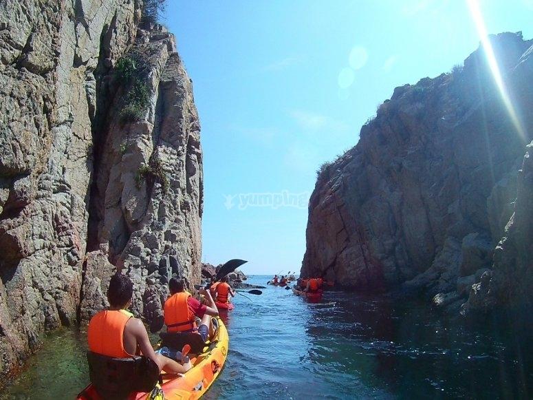 Kayaks en la Costa Brav