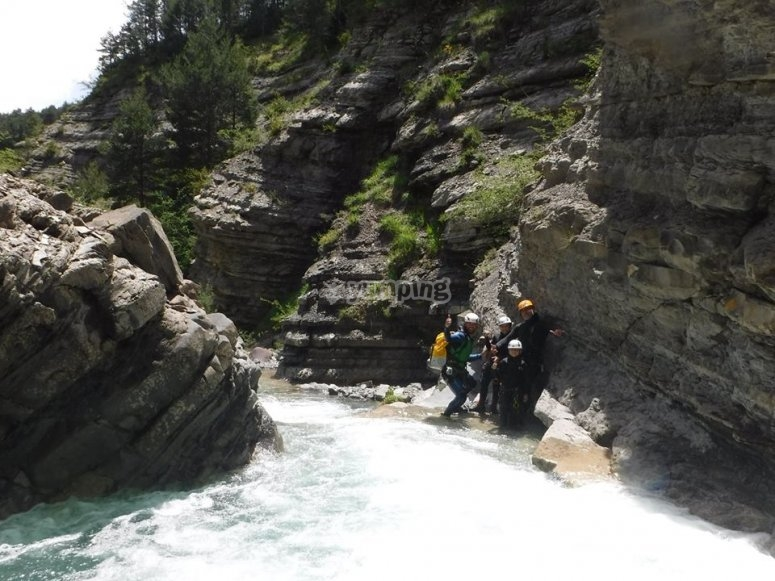 During the canyoning