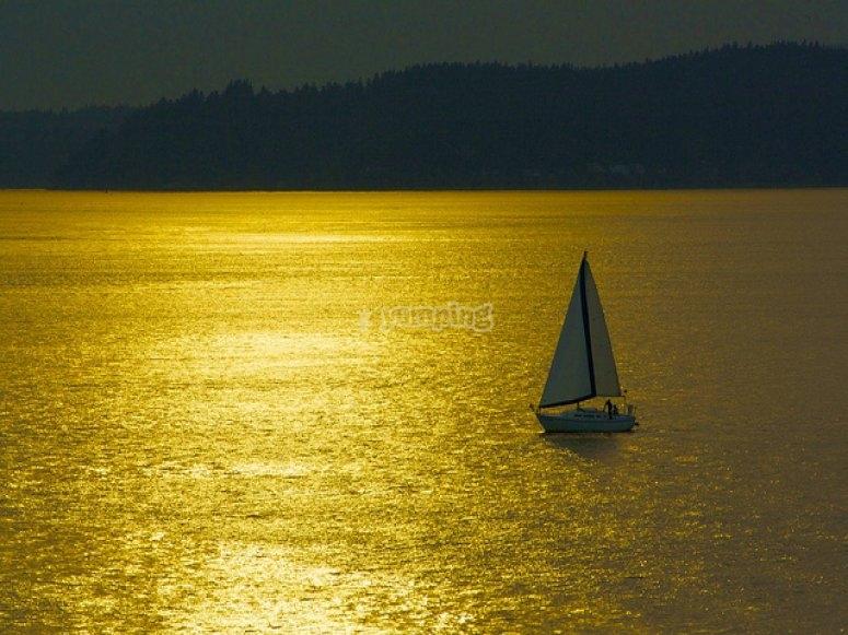 Navega en barco al atardecer