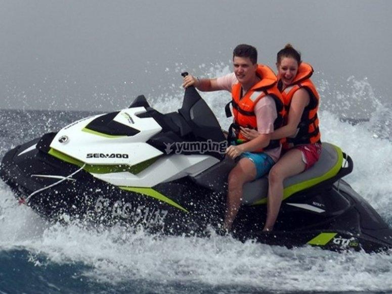 Excursion of 2 by a jet ski
