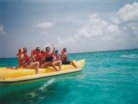 Waving from the banana boat