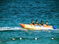 Turning aboard the banana boat