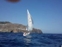 Sailing in a sailboat
