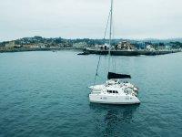 Yacht sailing on the coast of Gijón