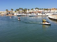 Leaving the marina with three jet skis