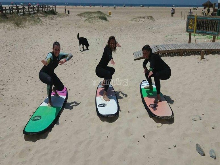 在沙滩练习冲浪课程