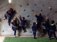 Climbing in rocodromo