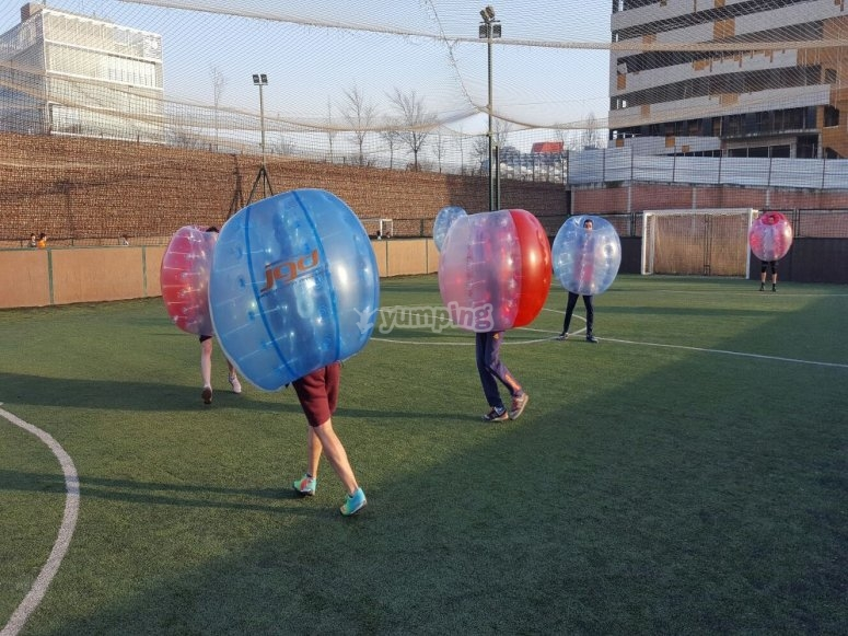 Guys with inflatable balls