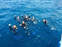 小组在水中迎接