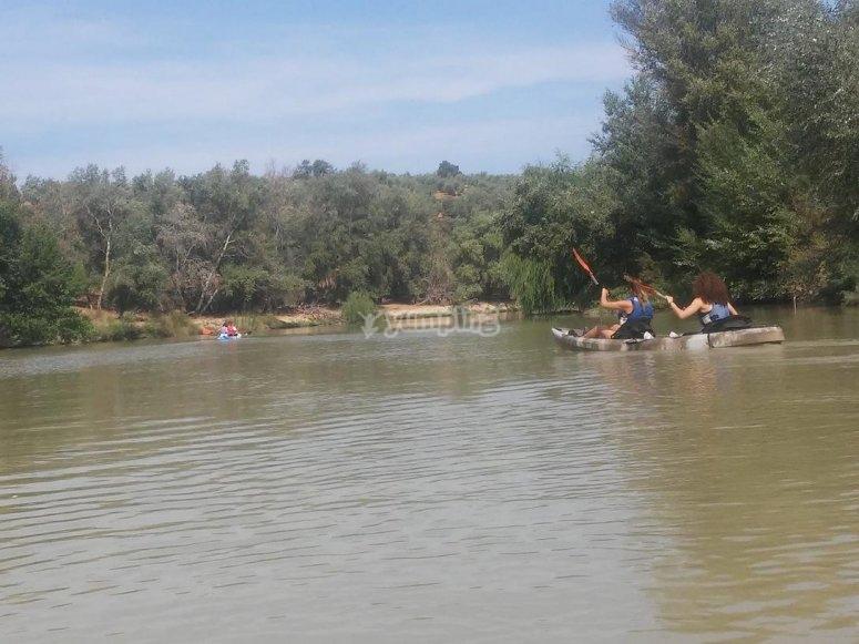 Kayaks en el rio