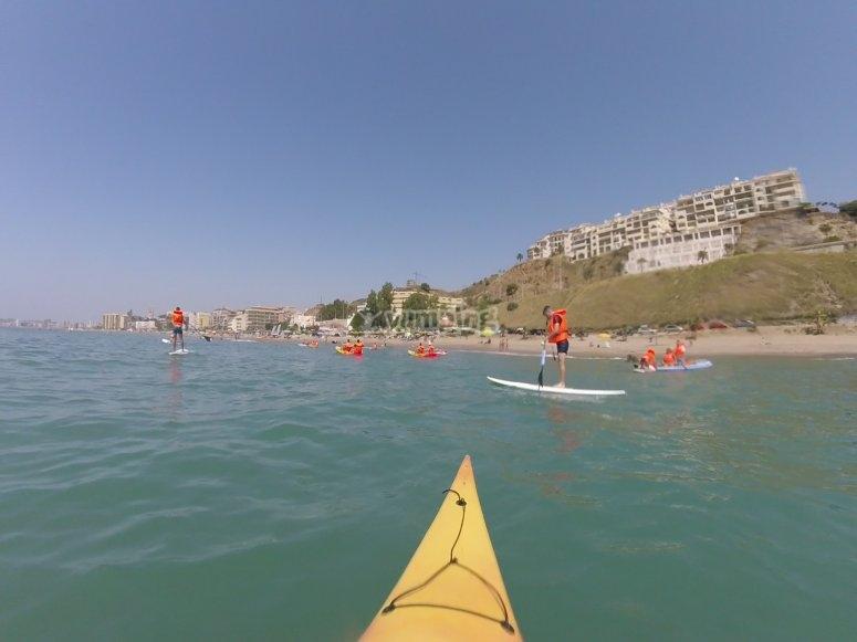 皮划艇和划桨冲浪共享空间
