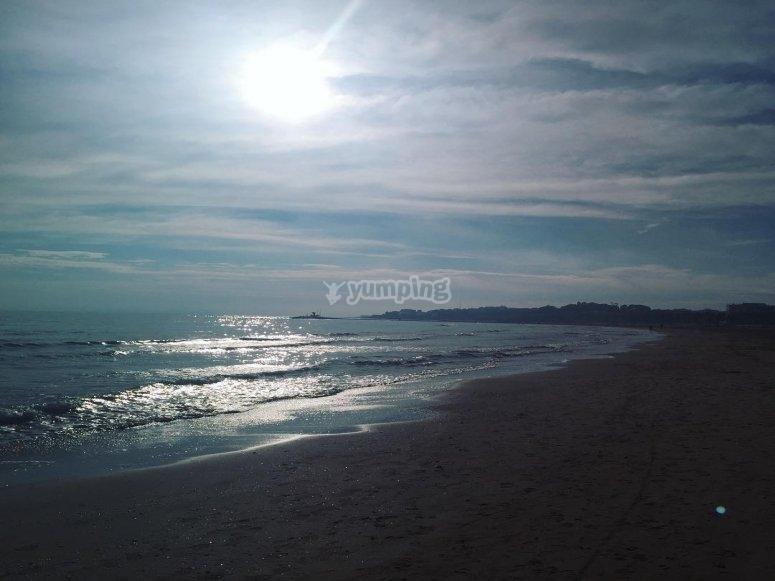 La spiaggia di Mataró in attività