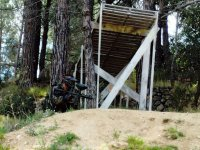 Under the structure in the paintball field