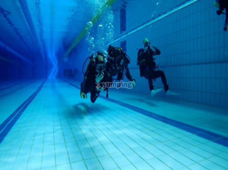 游泳池中的洗礼课程