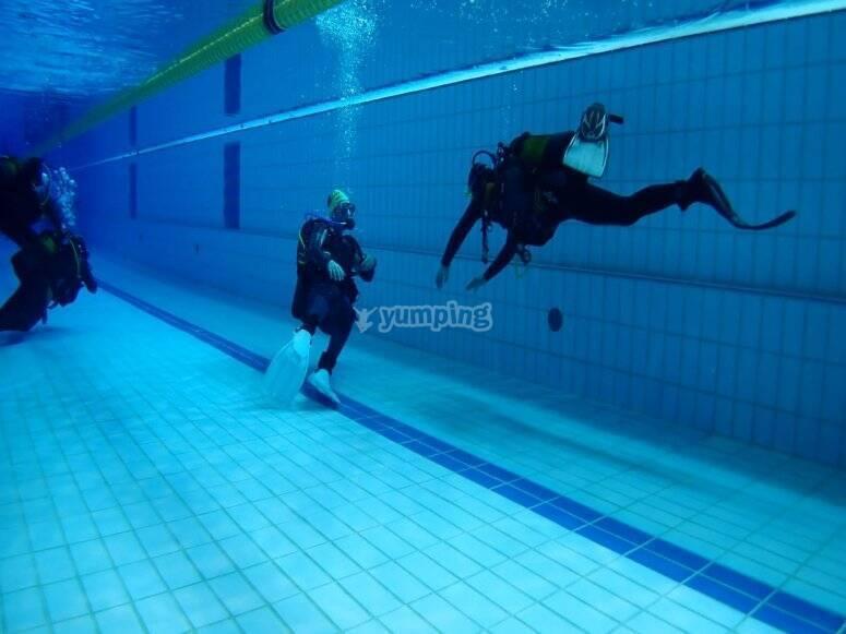 在泳池中进行潜水