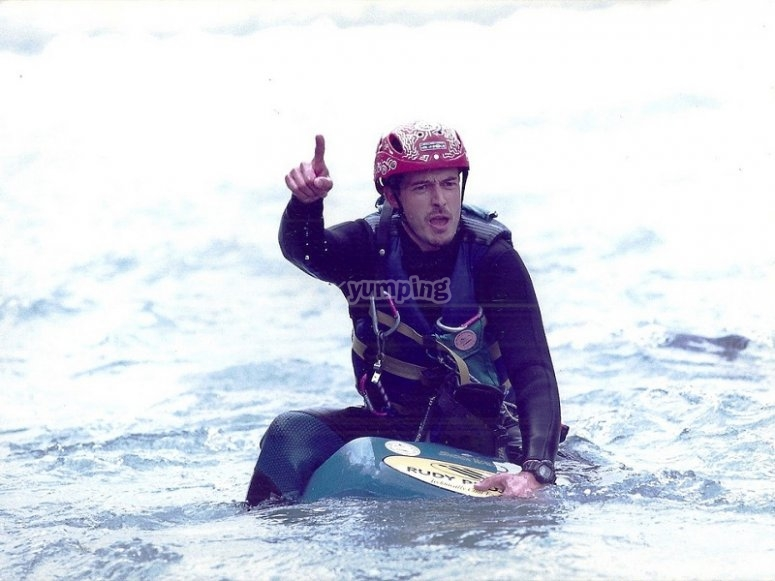 Riding a water sled