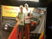 Podium after the race in the simulator