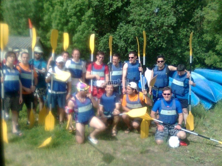 Stag party with canoes