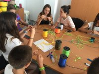 Workshop with colored cords