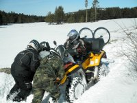 Towing a quad in the snow