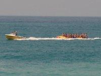 Feeling the adrenaline in a banana boat
