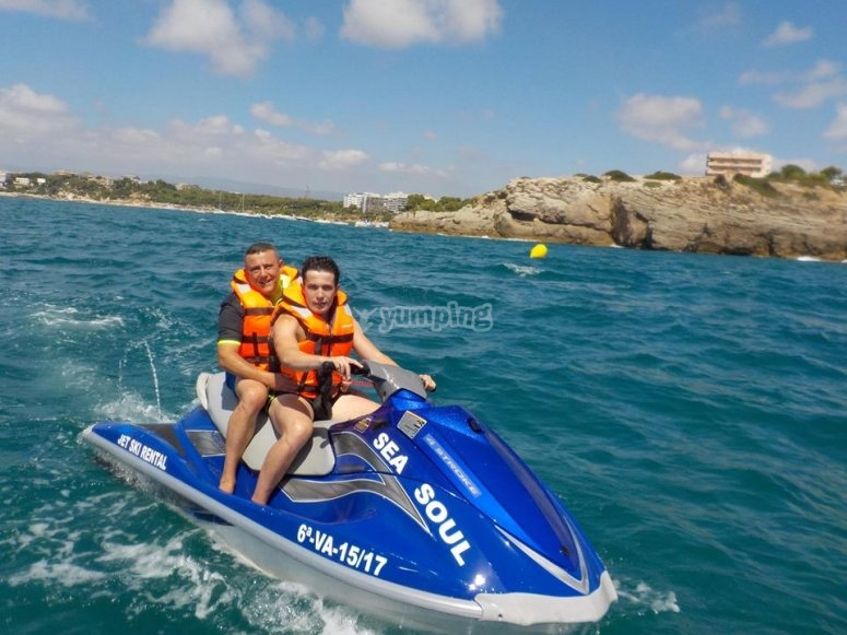 On the two-seater jet skis