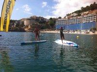 桨测试台和跳跃到水从表