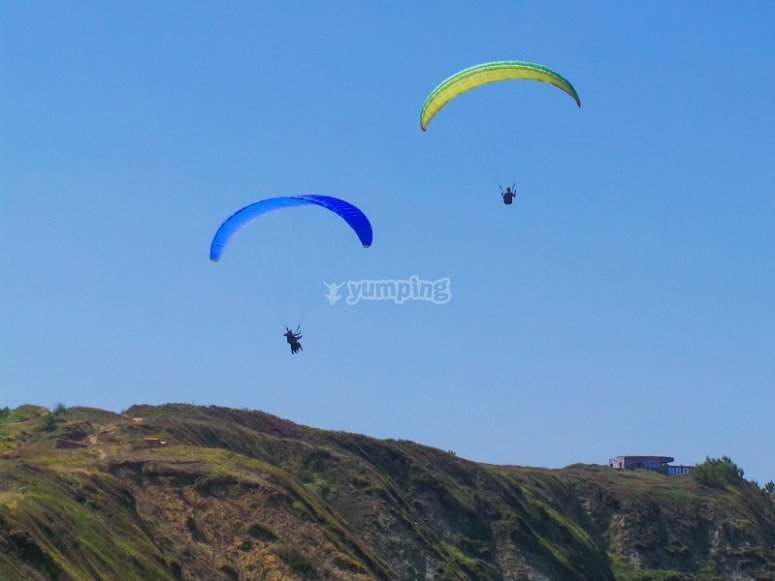 Couple of paraglides